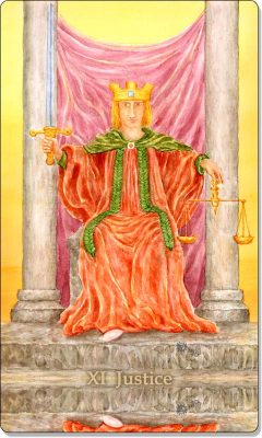 What is the meaning of XI Justice Tarot Card?
