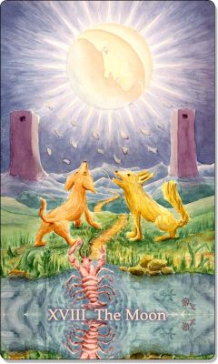 What is the meaning of XVIII The Moon Tarot Card?