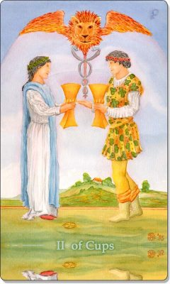 What is the meaning of II Of Cups Tarot Card?