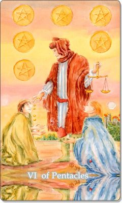 What is the meaning of VI Of Pentacles Tarot Card?