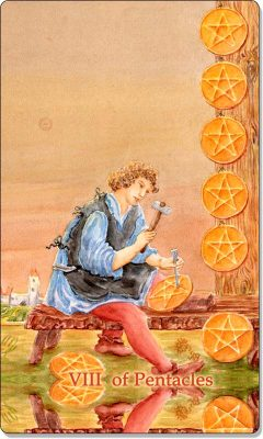 What is the meaning of VIII Of Pentacles Tarot Card?