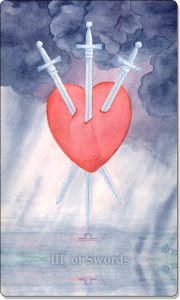 On this image you see a 3 of Swords Tarot Card.