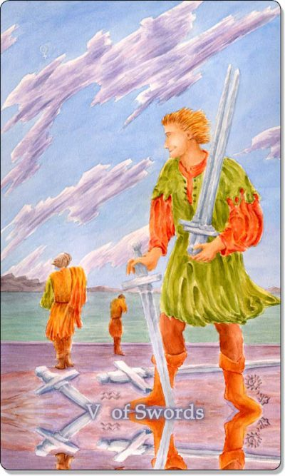 What is the meaning of V of Swords Tarot Card?