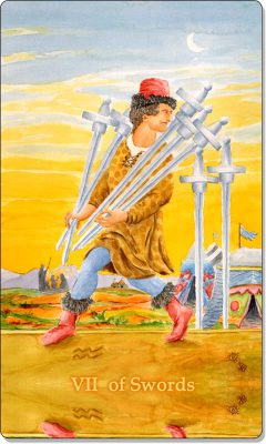 What is the meaning of the VII of Swords Tarot Card?