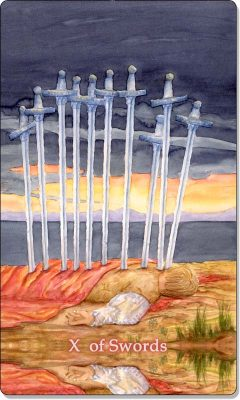 What is the meaning of X of Swords Tarot Card?