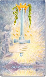 The image of the Ace of Swords Tarot Card.